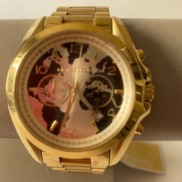 NWT MK Gold Plated Hunger stop unisex watch